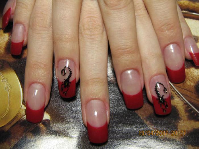 Рисунки на ногтях гелем скорпион