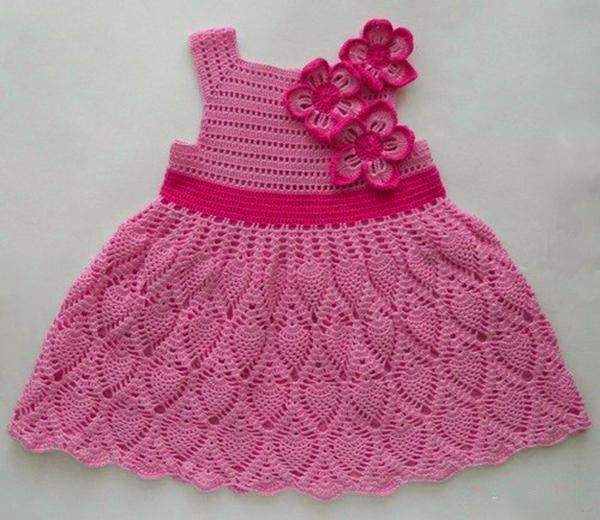 Платья крючком с ананасами для девочки