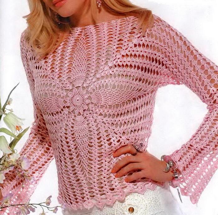 Ажурный свитер)Схема вязания