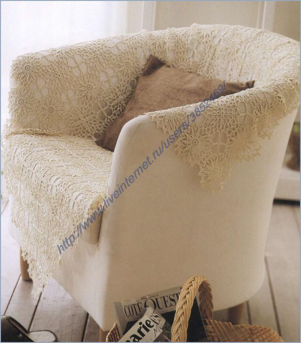 Ажурная накидка на кресло