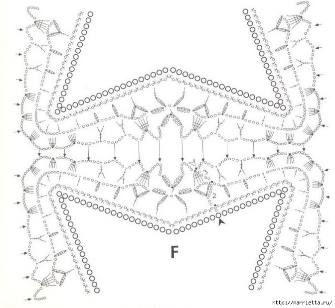 Льняная ткань и крючок. Схемы для вязания скатерти (2) (672x619, 200Kb)