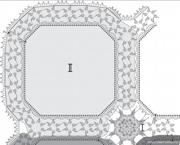 Льняная ткань и крючок. Схемы для вязания скатерти (12) (700x563, 250Kb)