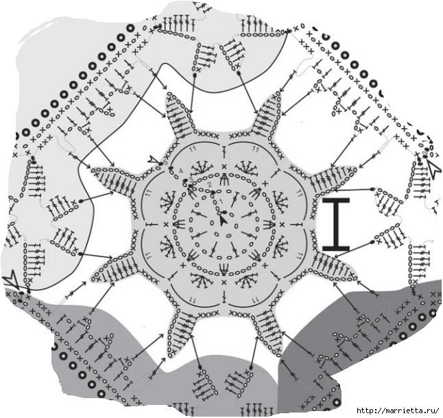 Льняная ткань и крючок. Схемы для вязания скатерти (14) (646x610, 210Kb)