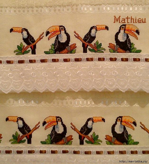 Туканы на полотенце. Схема вышивки (1) (627x689, 321Kb)