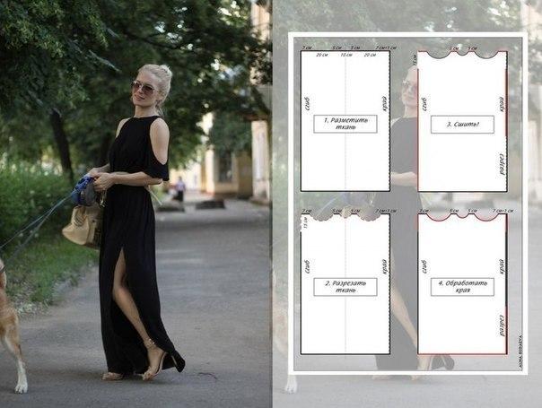 Как сшить летнее платье из трикотажа за полчаса (604x455, 51Kb)
