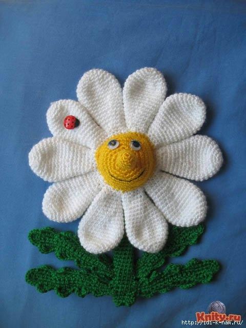вязаная ромашка, как связать ромашку, схема вязания ромашки, вязаные цветы, как связать цветочек,
