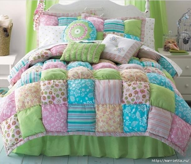 Пэчворк. Теплое лоскутное одеяло (2) (613x526, 231Kb)