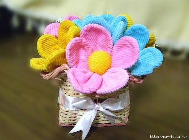 Цветочки из вельвета для заколки и украшения детской одежды (1) (611x452, 175Kb)