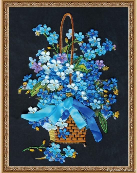 Вышивка лентами по декорированному холсту. Картины Натюрморты с цветами (1) (548x692, 354Kb)