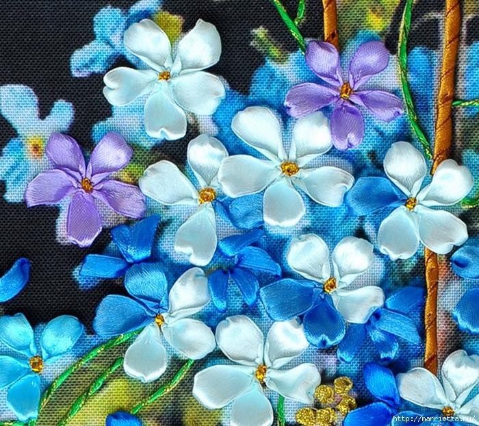 Вышивка лентами по декорированному холсту. Картины Натюрморты с цветами (3) (700x622, 462Kb)