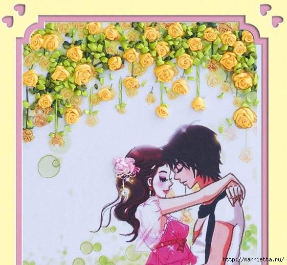 Вышивка лентами по декорированному холсту. Картины Натюрморты с цветами (5) (561x519, 207Kb)