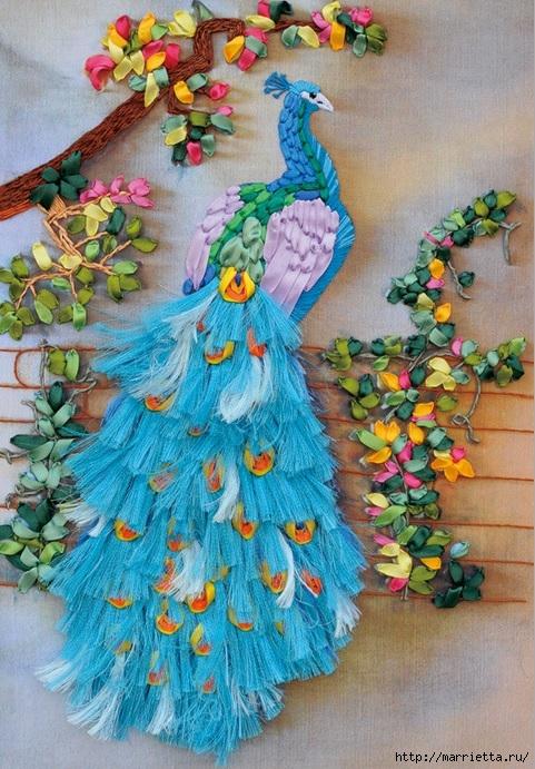 Вышивка лентами по декорированному холсту. Картины Натюрморты с цветами (7) (481x691, 315Kb)