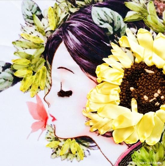 Вышивка лентами по декорированному холсту. Картины Натюрморты с цветами (9) (550x551, 263Kb)