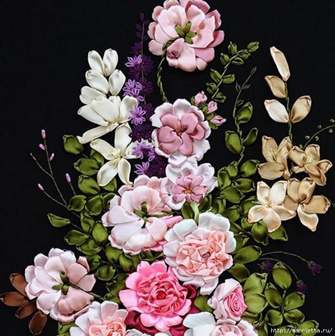 Вышивка лентами по декорированному холсту. Картины Натюрморты с цветами (13) (656x658, 286Kb)