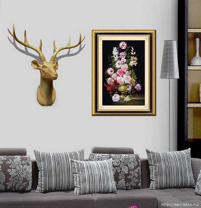 Вышивка лентами по декорированному холсту. Картины Натюрморты с цветами (15) (640x661, 210Kb)