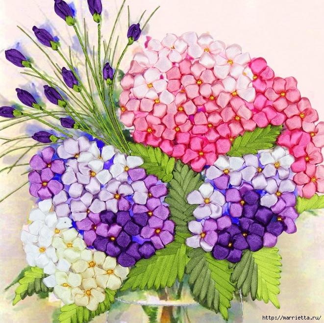 Вышивка лентами по декорированному холсту. Картины Натюрморты с цветами (19) (661x659, 405Kb)