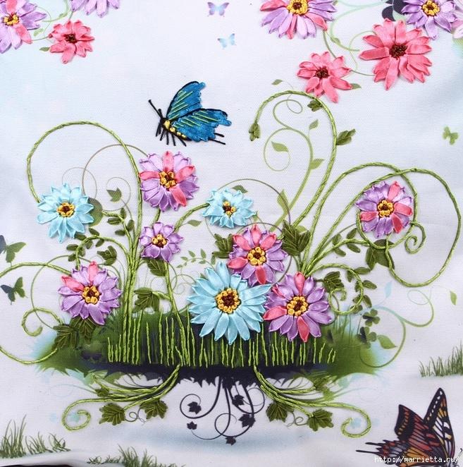 Вышивка лентами по декорированному холсту. Картины Натюрморты с цветами (22) (657x662, 388Kb)