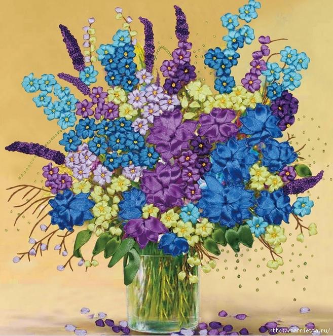 Вышивка лентами по декорированному холсту. Картины Натюрморты с цветами (27) (657x663, 388Kb)
