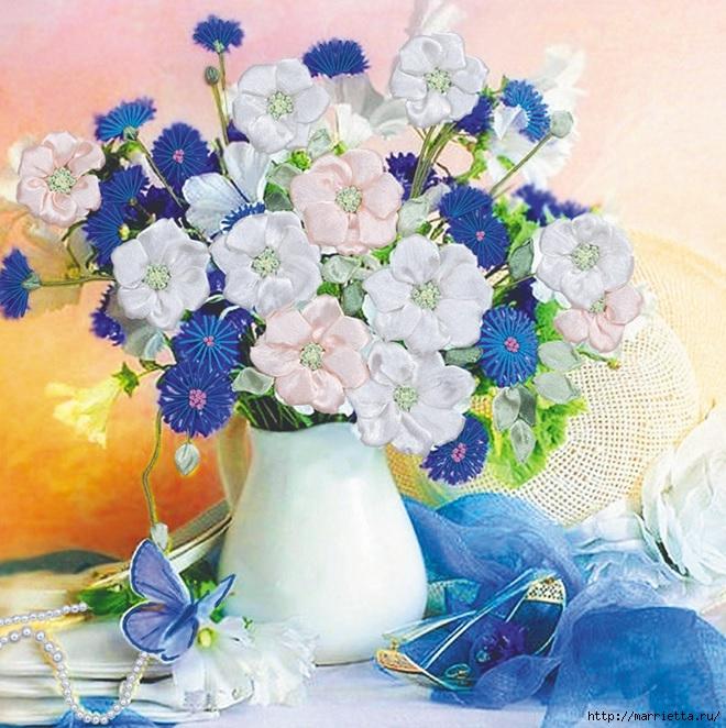 Вышивка лентами по декорированному холсту. Картины Натюрморты с цветами (29) (660x662, 315Kb)