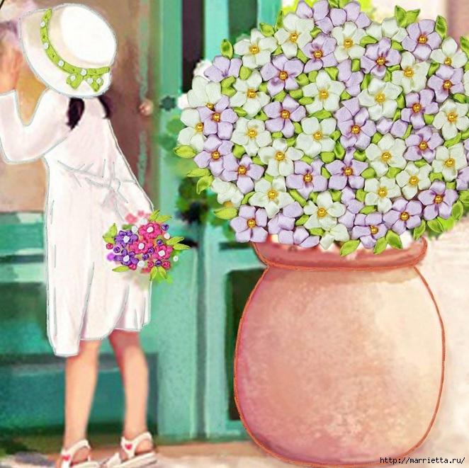 Вышивка лентами по декорированному холсту. Картины Натюрморты с цветами (31) (662x661, 300Kb)