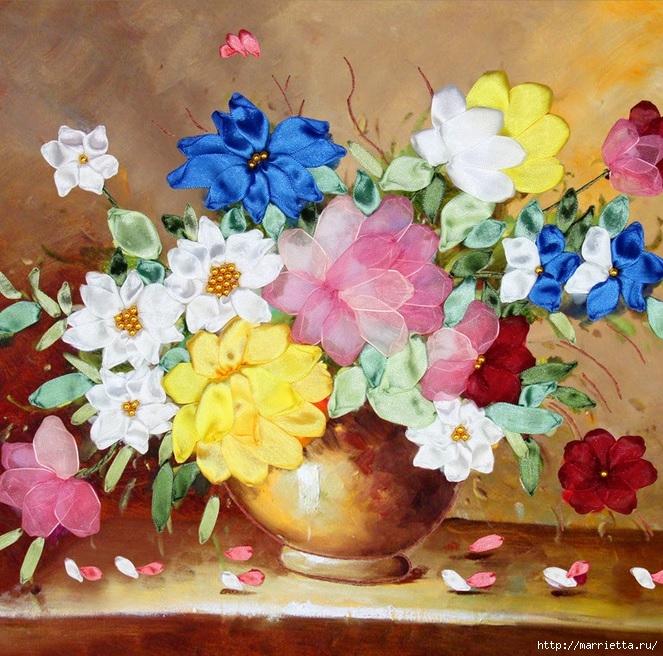 Вышивка лентами по декорированному холсту. Картины Натюрморты с цветами (33) (663x656, 353Kb)