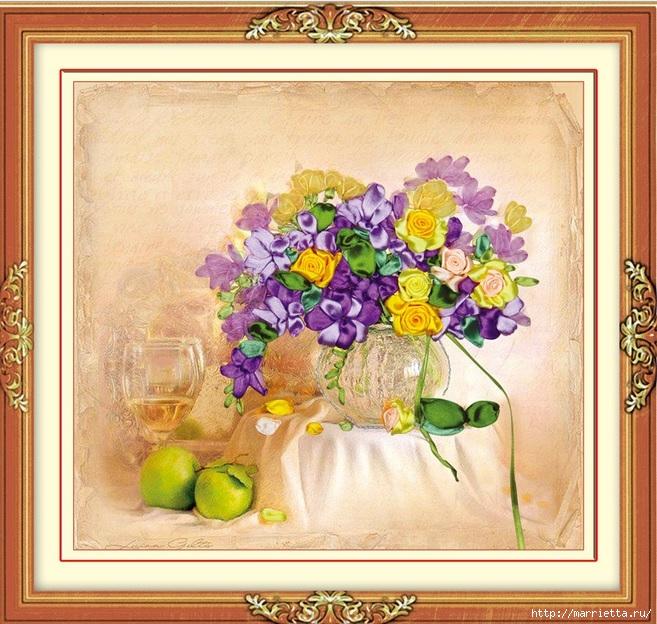 Вышивка лентами по декорированному холсту. Картины Натюрморты с цветами (37) (657x624, 307Kb)