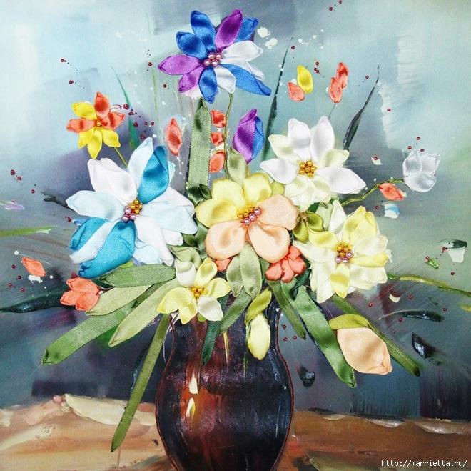 Вышивка лентами по декорированному холсту. Картины Натюрморты с цветами (39) (660x659, 337Kb)