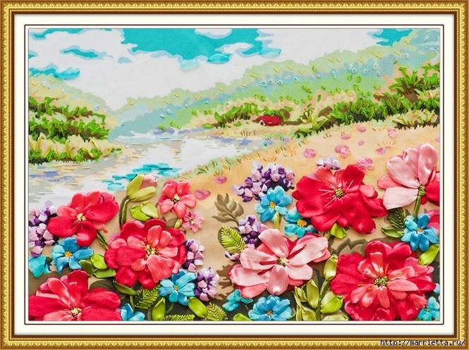 Вышивка лентами по декорированному холсту. Картины Натюрморты с цветами (41) (665x497, 303Kb)