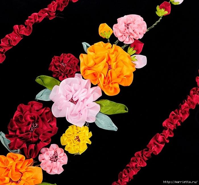 Вышивка лентами по декорированному холсту. Картины Натюрморты с цветами (47) (700x649, 274Kb)
