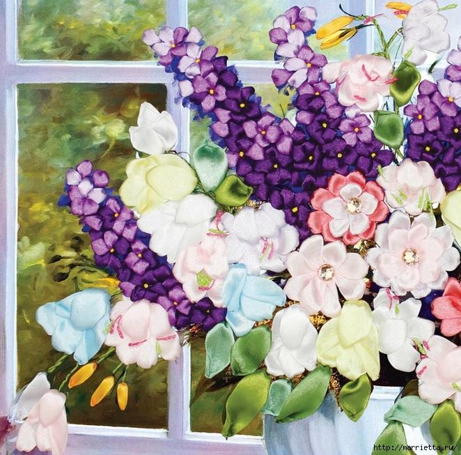 Вышивка лентами по декорированному холсту. Картины Натюрморты с цветами (53) (662x653, 386Kb)