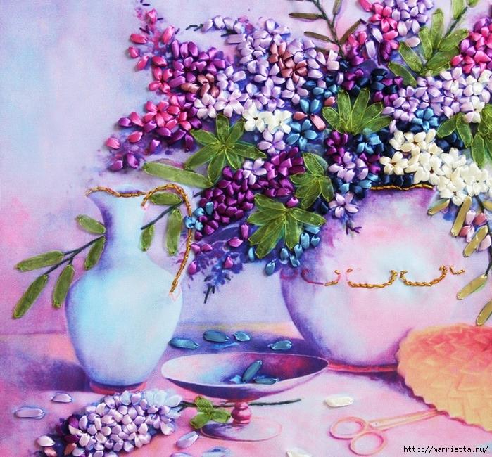 Вышивка лентами по декорированному холсту. Картины Натюрморты с цветами (55) (700x650, 451Kb)
