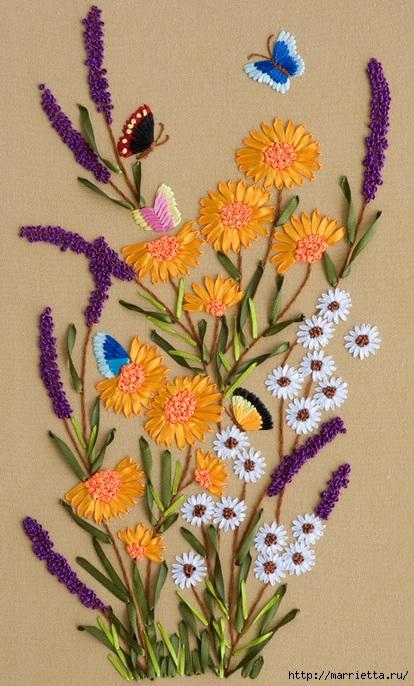 Вышивка лентами по декорированному холсту. Картины Натюрморты с цветами (57) (414x686, 249Kb)
