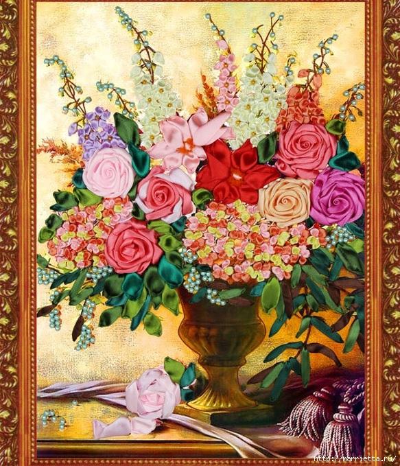 Вышивка лентами по декорированному холсту. Картины Натюрморты с цветами (59) (583x679, 416Kb)