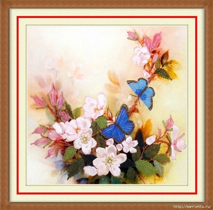 Вышивка лентами по декорированному холсту. Картины Натюрморты с цветами (63) (681x670, 289Kb)
