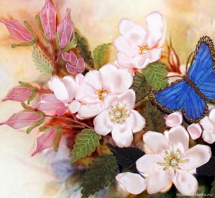 Вышивка лентами по декорированному холсту. Картины Натюрморты с цветами (65) (700x643, 363Kb)