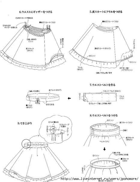 Как сшить японскую юбку в складку 81
