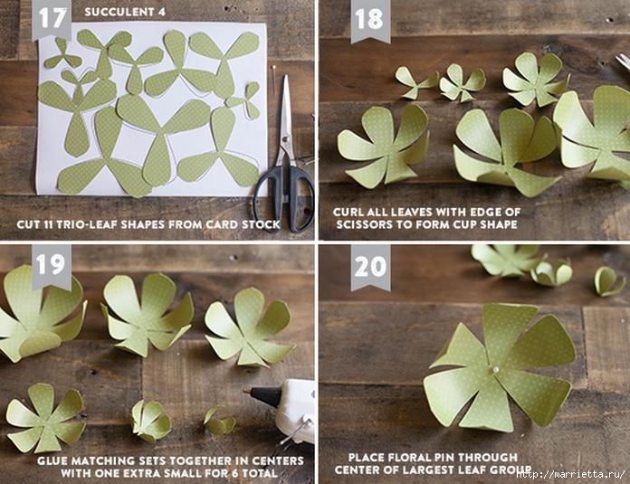 СУККУЛЕНТЫ из текстурной бумаги. Шаблоны для распечатки (12) (696x535, 258Kb)