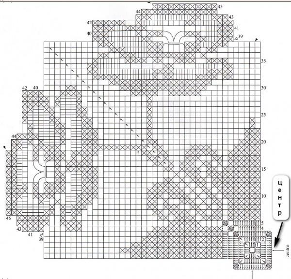 Схема вязания салфеток филейным вязанием 65