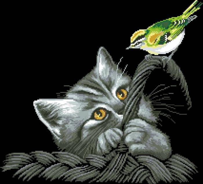 """Схема вышивки """"Котенок и"""