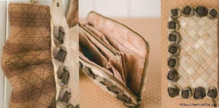 Интересная сумочка и косметичка с цветами из ткани (3) (700x344, 168Kb)