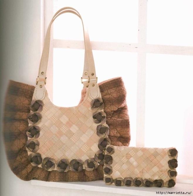Интересная сумочка и косметичка с цветами из ткани (5) (658x666, 173Kb)