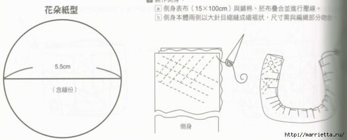 Интересная сумочка и косметичка с цветами из ткани (14) (700x282, 77Kb)
