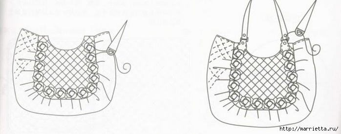 Интересная сумочка и косметичка с цветами из ткани (16) (700x275, 102Kb)