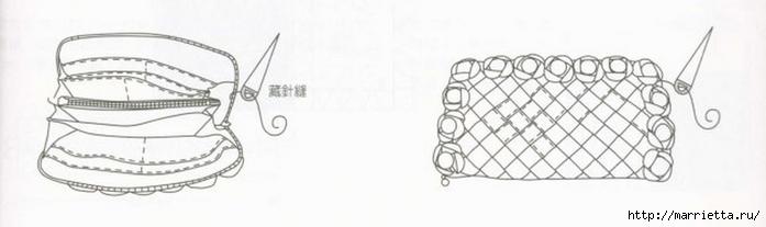 Интересная сумочка и косметичка с цветами из ткани (22) (700x207, 74Kb)