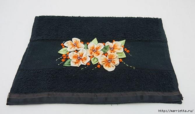 вышивка лентами на полотенце (1) (669x393, 108Kb)