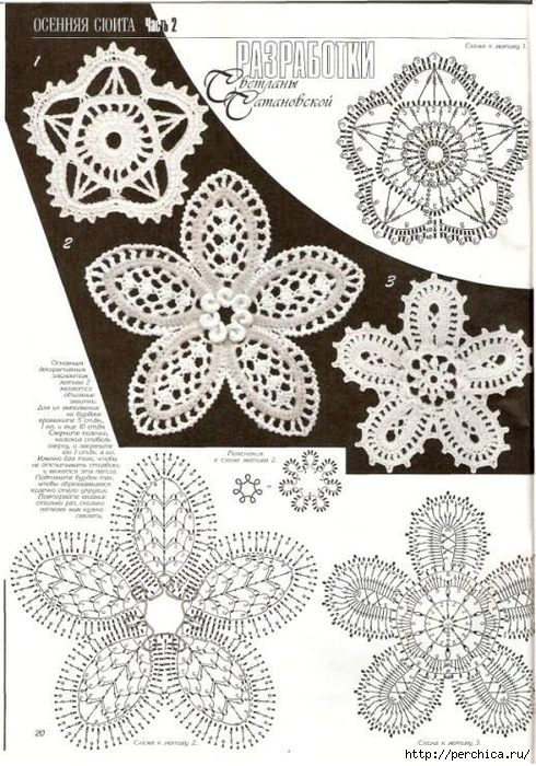 Вязание цветочное кружево