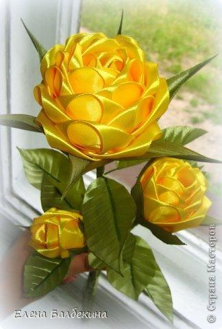 Цветы из лент. Красавица ЖЕЛТАЯ РОЗА (3) (324x480, 135Kb)