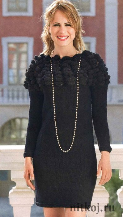 Черное платье спицами » Ниткой