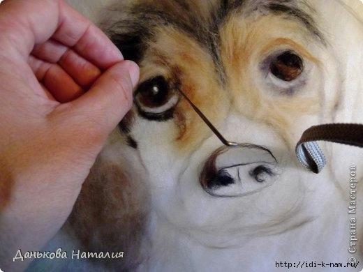как делают картины из шерсти, собака из шерсти, как сделать собачку из шерсти, картина с собакой из шерсти,