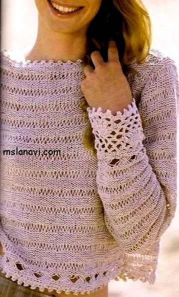 Воздушный-летний-пуловер-со-спущенными-петлями (359x596, 91Kb)
